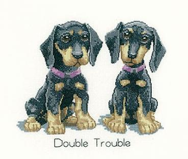 "Heritage Crafts Stickvorlage "" It`s a dog life - Double Trouble "" von Peter Underhill"