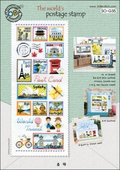"Sodastitch Stickvorlage ""The World`s Postage Stamp"""