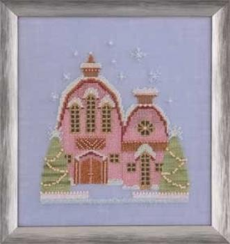 "Nora Corbett Stickvorlage ""Little Snowy Pink Cottage"""