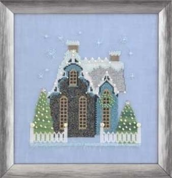 "Nora Corbett Stickvorlage ""Little Snowy Blue Cottage"""