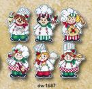 "Design Works Crafts Kreuzstichpackung "" Cooking up Christmas  "" 6 Ornamente"
